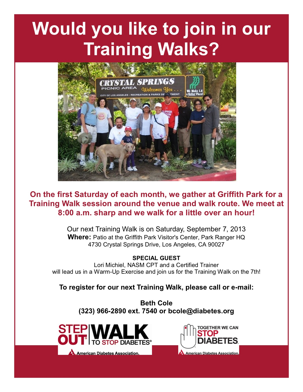 Lori Michiel Invited to Lead Warm-Up for an American Diabetes Association Training Walk